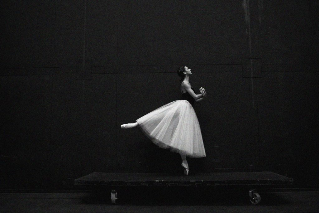 Black and White image of ballerina