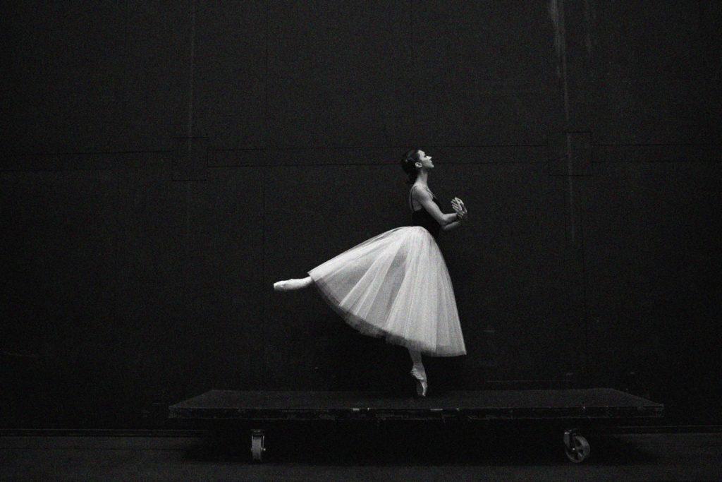 Black and White image of ballerina